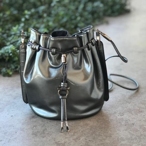 Salvatore Ferragamo Silver Patent Bucket Bag. M 5b6a81cb3c9844469f07af85 157f77a37cae8